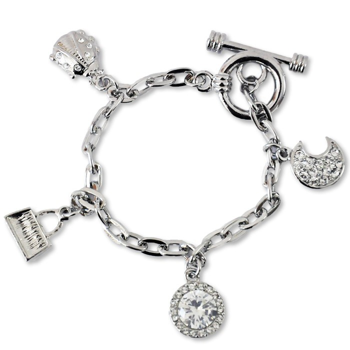 Charms Swarovski bracelet, charms bracelet with original Swarovski elements, bracelet with hangers