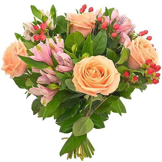 Bukiet Fantazyjny Ogród, pomarańczowe róże w bukiecie, kolorowe kwiaty