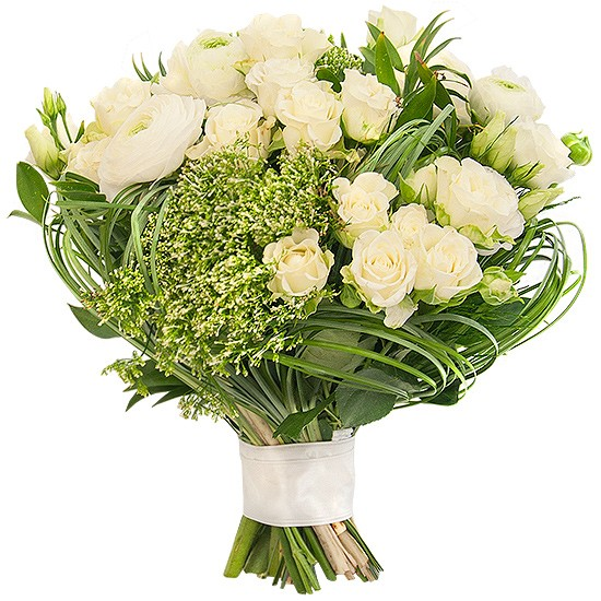 Bukiet Świetlista Biel, bukiet białych kwiatów i zieleni