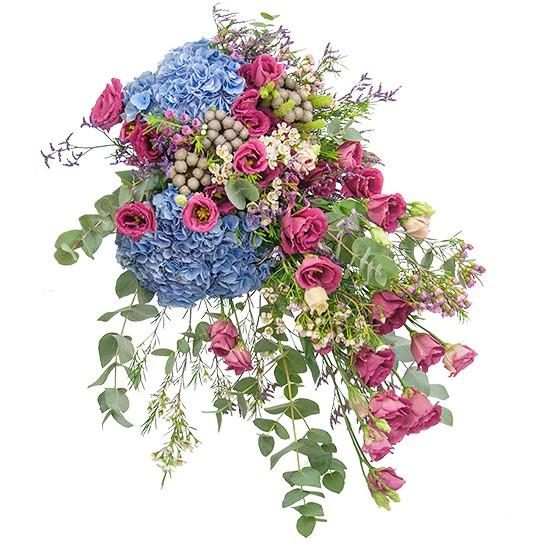 Bukiet Malowniczy, hortensja w bukiecie, niebieska hortensja i różowa eustoma