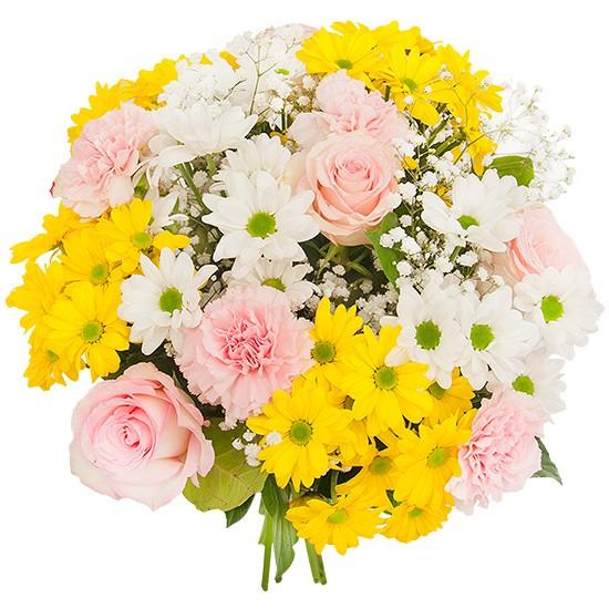 Bukiet Słoneczna Wiosna, bukiet kolorowych kwiatów, białe i żółte margaretki