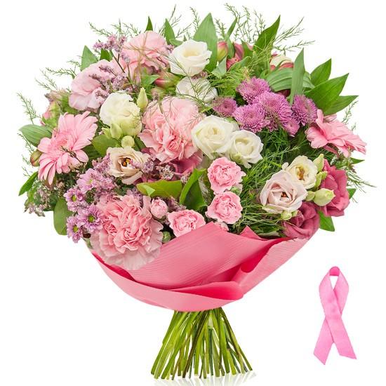 bukiet różowa wstążka, bukiet różowy owinięty w różowy papier ozdobny