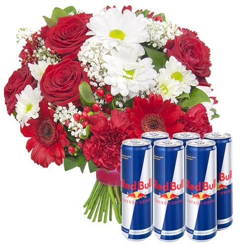 Bukiet energetyzujący, bukiet białych i czerwonych kwiatów z red bullem