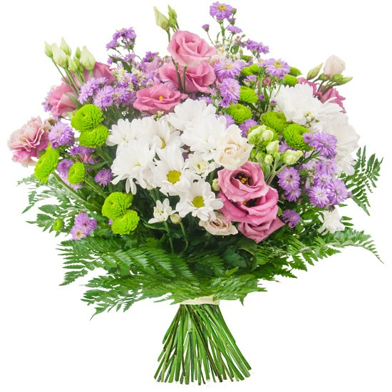 fairy's bouquet, bouquet of santini, eustoma, chrysanthemum, aster and fern