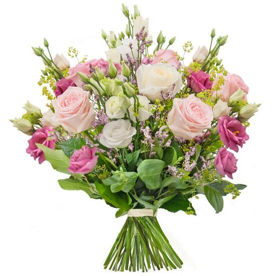 powiew wiosny, bukiet kwiatów, bukiet z różowych róż, buplerum, eustoma, limonium, zieleń dekoracyjna
