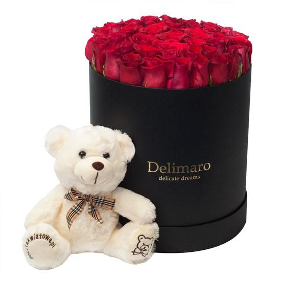 Flowerbox z misiem, czerwone róże w czarnym pudełku z pluszowym misiem