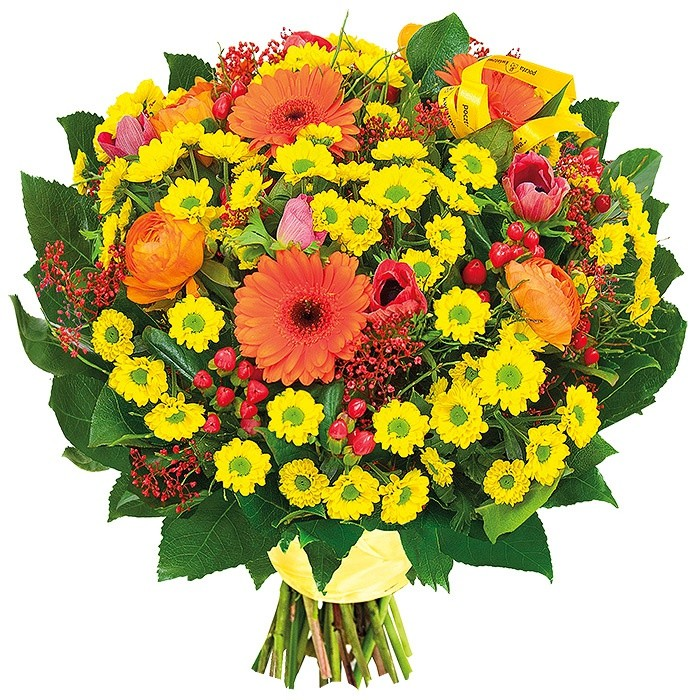 Kwiaty - santini, gerbery, anemon, jaskry, gipsówka, hypericum, zieleń dekoracyjna w bukiecie, Bukiet Like it, słoneczny bukiet