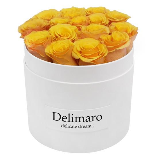 Masterbox - żółte róże w białym pudełku, kwiaty w pudełku z wysyłką