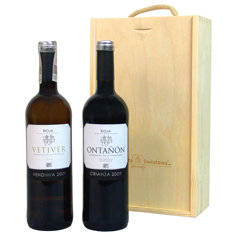 all the best set, two wine bottles in a wooden box with engraving, white wine, red wine, ontanon