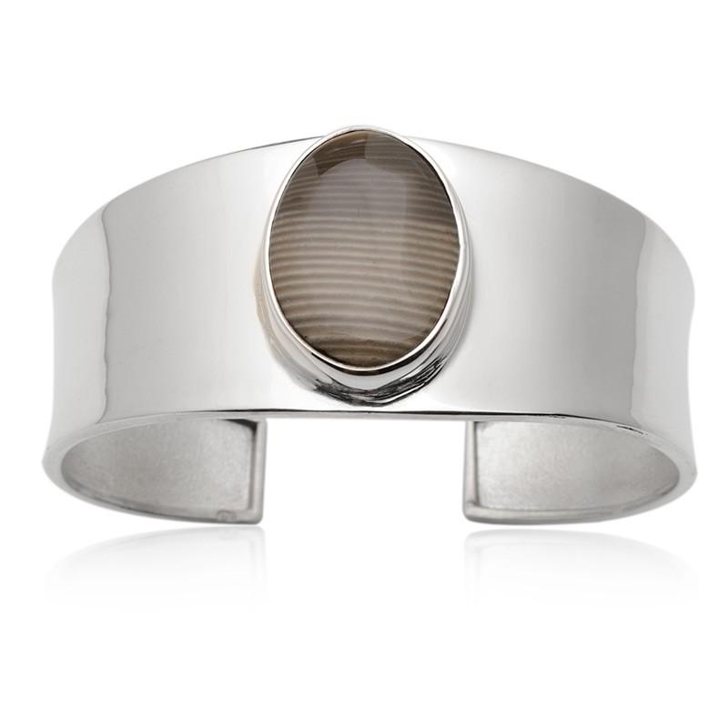 Polski diament, bransoleta wykonana ze srebra zdobiona krzemieniem pasiastym
