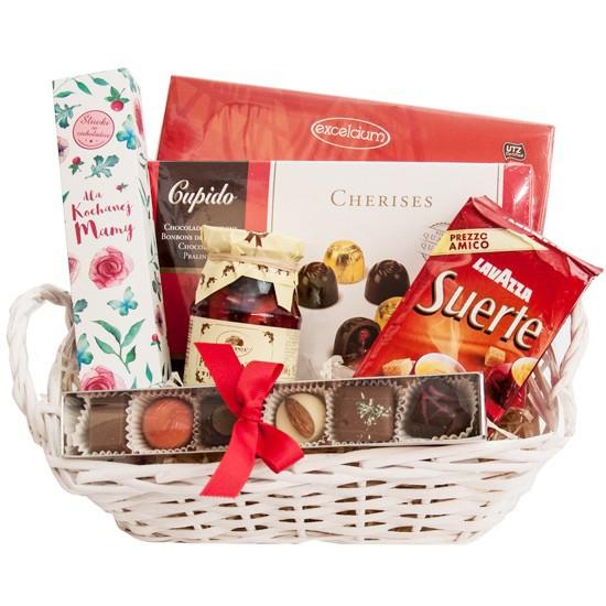 Koszyk Matuli, prezent na Dzień Matki, praliny i kawa w koszyku prezentowym
