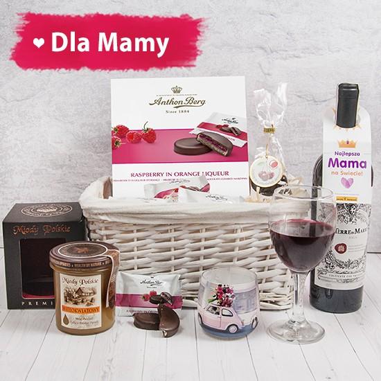kosz prezentowy, czerwone wino, miody polskie prezent na dzień matki