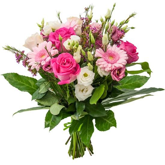 Kwiaty na Dzień Mamy, różowe róże i gerbery, biała i różowa eustoma
