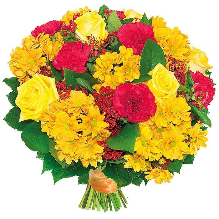 bukiet just for, bukiet z czerwonych goździków, żółtych róż, margaretek, hipericum, gipsówki i zieleni dekoracyjnej, związany pomarańczową wstążką