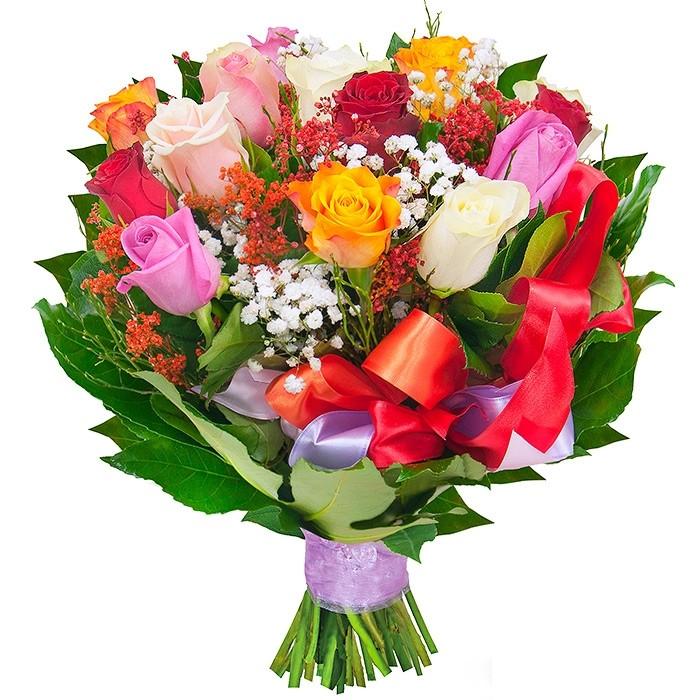 Kolorowe róże, kompozycja różnokolorowych róż, bukiet jak tęcza