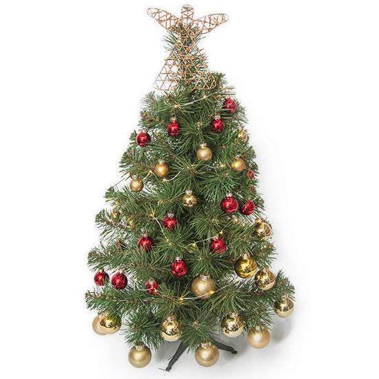Choinka na Boże Narodzenie z czerwonymi i złotymi bombkami