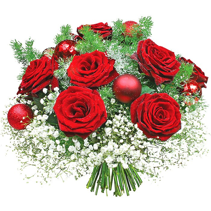 Christmas basket, bouquet of roses, medioklades and gypsophila and ornamental baubles