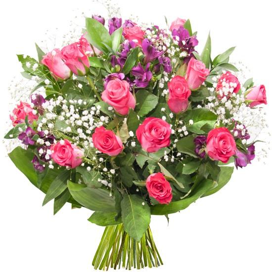 Bukiet różowych róż, alstromerii, limonium, zieleni dekoracyjnej, Bukiet Hollywood, kwiaty filmowe