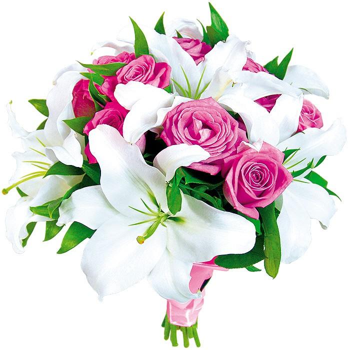 bukiet na ślub, bukiet ślubny, białe lilie, różowe róże, bukiet owinięty różową wstążką
