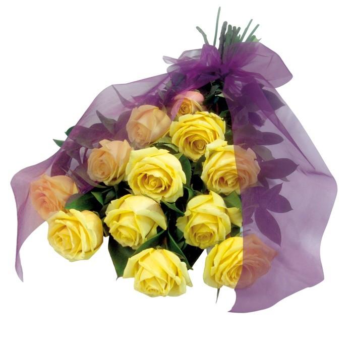 Kompozycja Pocieszenie, bukiet kondolencyjny leżący, bukiet żółtych róż z fioletową wstążką na pogrzeb