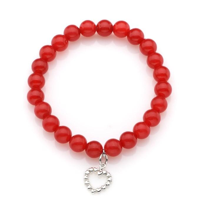 Bransoletka - Koralowa moc miłości, Bransoletka z czerwonych koralików z zawieszką w kształcie serduszka