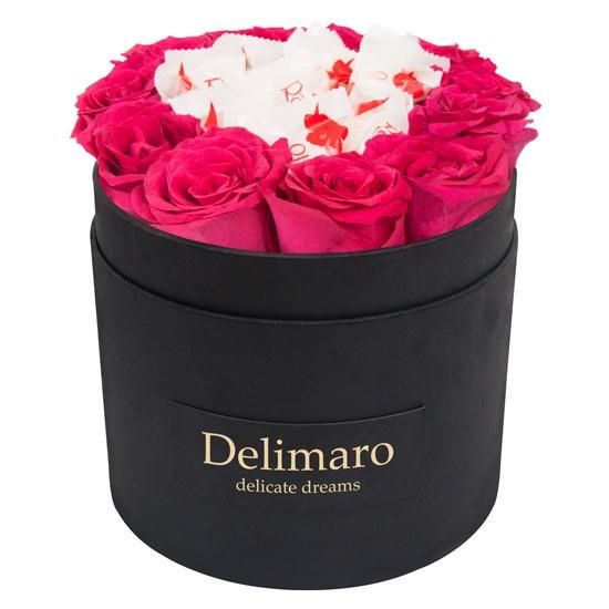 Masterbox z Rafaello, kwiaty z czekoladkami, czarne pudełko z rantem