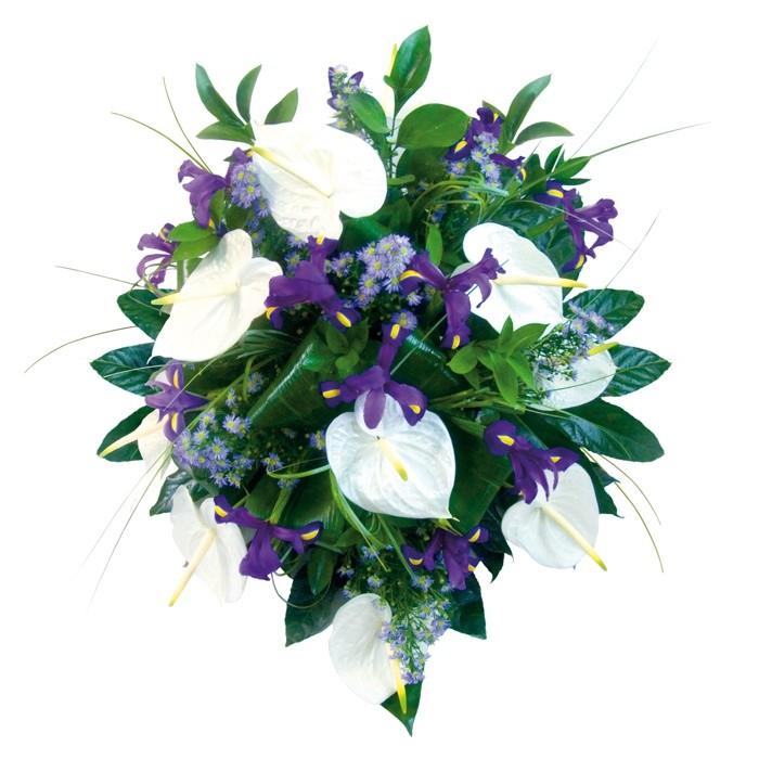 Wiązanka Szczery Żal, biało-fioletowa wiązanka pogrzebowa, bukiet kondolencyjny z anturium