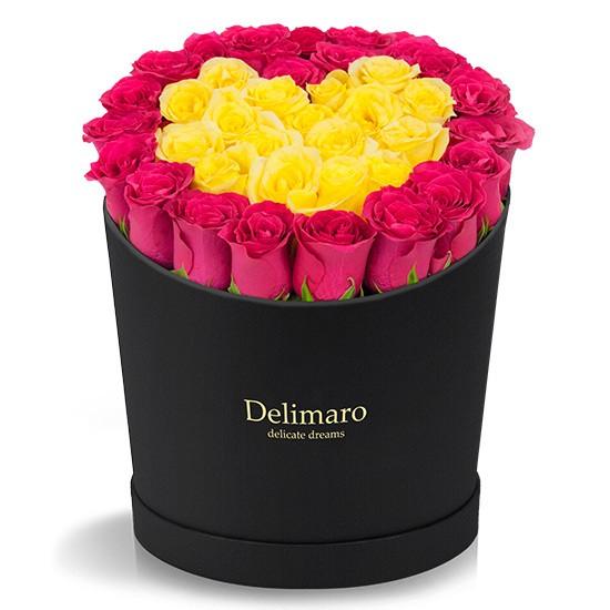 Czerwone róże w czarnym pudełku, żółte róże w kształcie serca