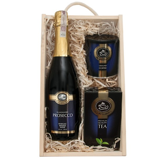 Blue Prosecco box with engraving, white prosecco with coffee and tea in engraved box