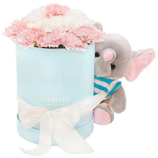 Białe i różowe goździki w błękitnym pudełku ze wstążką i słonikiem