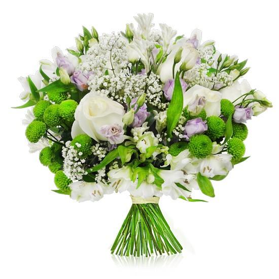 kompozycja subtelna, białe róże, eustoma, santini zielone, alstromeria, gipsówka, zieleń dekoracyjna, bukiet z białą wstążką, bukiet biało fioletowy