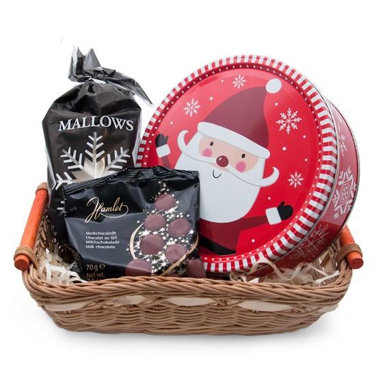 Koszy z prezentem na Mikołajki, pianki Marshmallows, czekoladki, ciastka w puszce