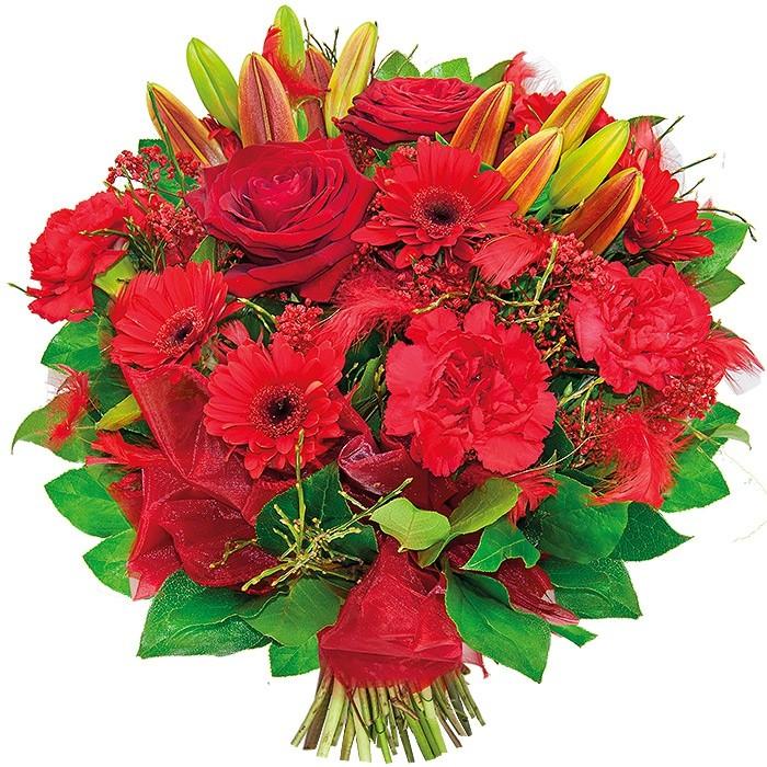 Bukiet gerber, lilii, róż czerwonych, goździków, gipsówki, zieleni dekoracyjnej, Bukiet Charme