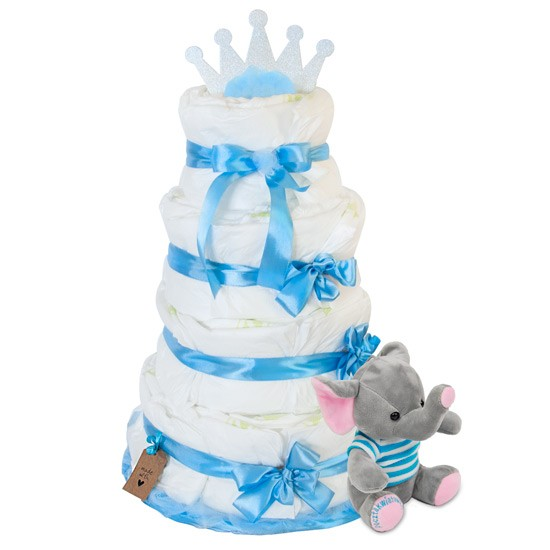 Tort z pieluszek z niebieskim słonikiem