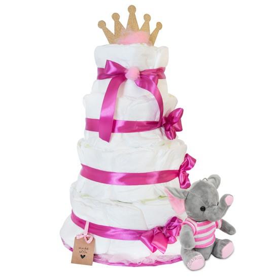 Tort z pieluszek z różowym słonikiem
