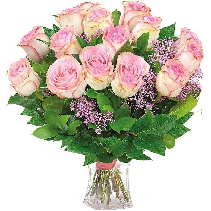 Bukiet rumieniec, bukiet 15 różowych róż z zielenią dekoracyjną w wazonie z dostawą