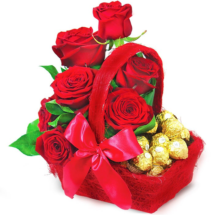 Bouquet sweet surprise, bouquet of red roses with chocolates in a red basket with a ribbon