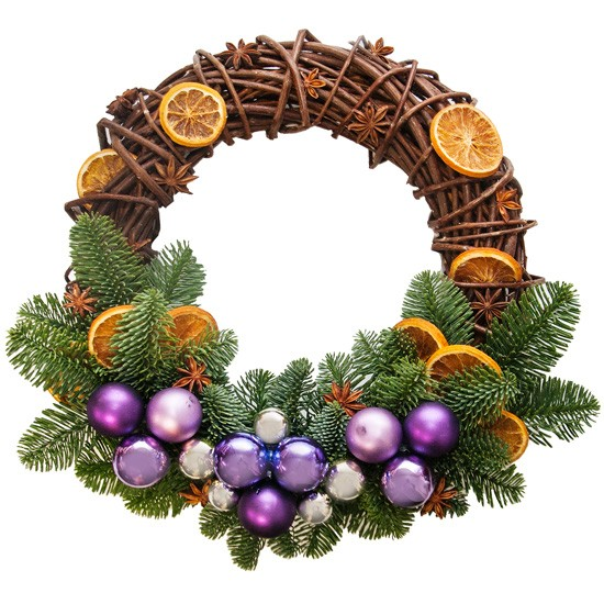 "Christmas wreath ""o holy nightt"", wicker wreath with decorations, wreath with bombs and oranges"