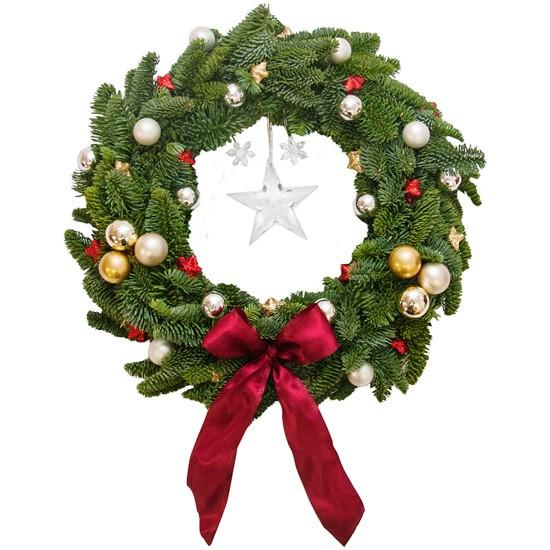 """Wieniec Świąteczny """"Lulajże Jezuniu"""", bożonarodzeniowy wieniec na drzwi z bombkami i kokardą"""