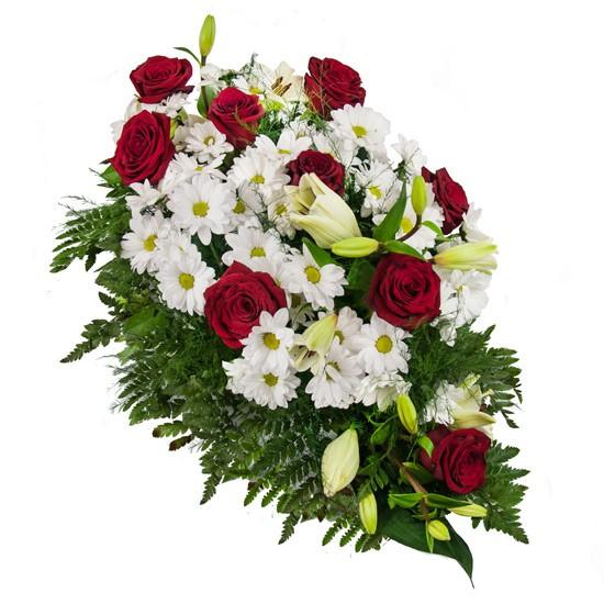 Wiązanka na pogrzeb, biało czerwone kwiaty w wiązance pogrzebowej, margaretki róże i lilie