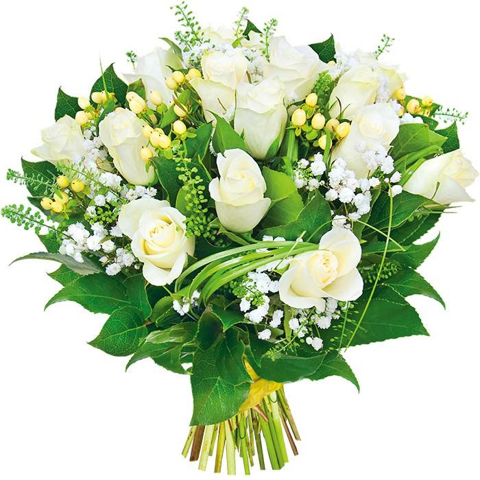 Kwiaty - 15 róż, gipsówka, hypericum, zieleń dekoracyjna ze wstążką, Kwiaty powabne