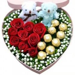 Różane serce i czekoladki