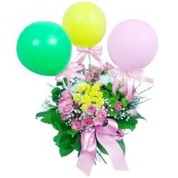 Kwiaty z balonikami dla dziecka