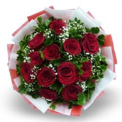 12 Czerwonych Róż Owijanych