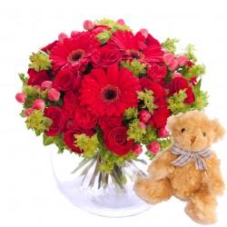 Hug for happiness, red + Teddy bear