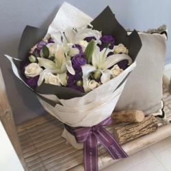 Bukiet mieszany - biało fioletowy