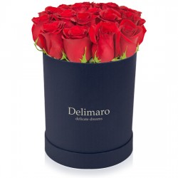 Red roses in a navy blue box