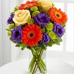 Kompozycja kolorowych kwiatów mieszanych