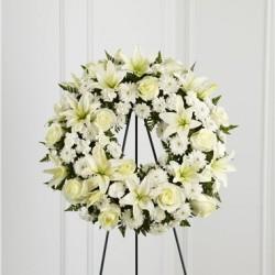 Wieniec pogrzebowy kremowy okrągły bez szarfy