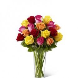 Kolorowe róże w wazonie
